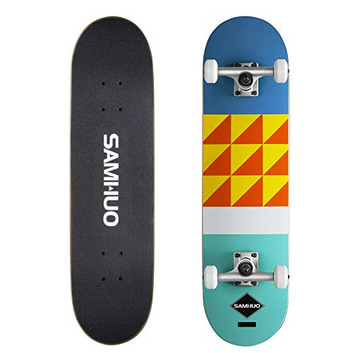 SAMHUO Skateboards 31#039#039X 8quot Pro Complete Skateboard 7 Layer Canadian Maple Skateboard Deck for Extreme Sports and Outdoors