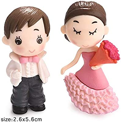 P S Retail Sweety Lovers - Bride and Groom Figurine Miniature - Style 21 - (2pcs/Set)