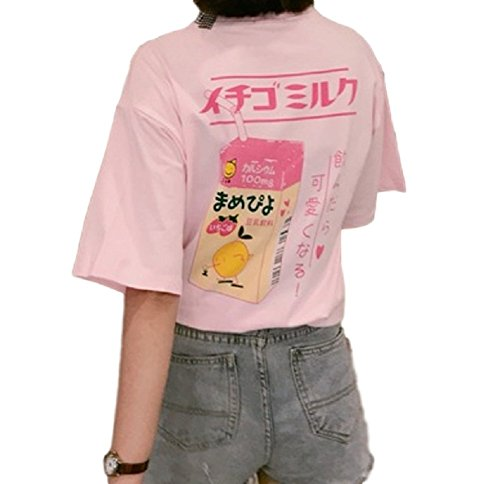 SSJ Japanese Drink Print T-Shirt Strawberry Milk MAMEPIYO rogo Color for Pink (Asia-XXL, Pink)