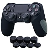 YoRHa Silicone Half Extra Thick Cover Skin Case for Sony PS4/slim/Pro Dualshock 4 Controller x 1(Black) with Pro Thumb Grips x 8