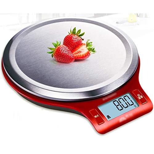 WaWeiY Báscula de Cocina Digital/hogar Hornear balanza electrónica/Eliminar función de Peso/Apagado automático/Alta precisión (Color : Red)