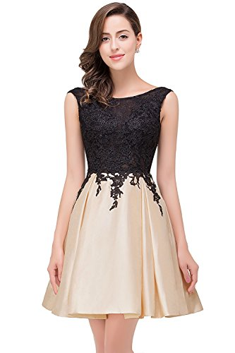 MisShow Damen Spitzen Kleid Ärmellos Hochzeitkleid Elegante Ballkleid Schöne Abendkleid Kurz GR. 34