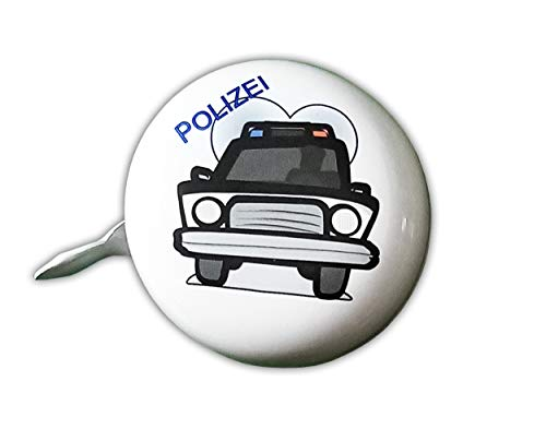 Anik-Shop FAHRRADGLOCKE Polizei Feuerwehr für Kinder Fahrradklingel Fahrrad Klingel Glocke (Polizei-Weiss)