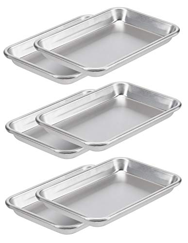 AmazonCommercial Aluminum Baking Sheet Pan, 1/8 Sheet, 10 x 7 Inch, Pack of 6