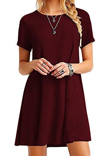 OMZIN Vestido de Fiesta Casual Camiseta Larga de Las Mujeres Atractivas | Blusa Casual | Vestido Elegante,Vino Tinto,L