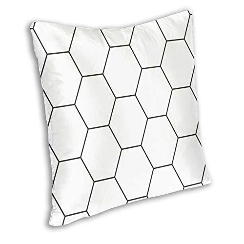 Zanghyu Fundas de cojín bohemias, abstractas, geométricas, color blanco y negro, diseño de hexágonos, moqueta, moderna, creativa, cuadrada, decoración para el hogar