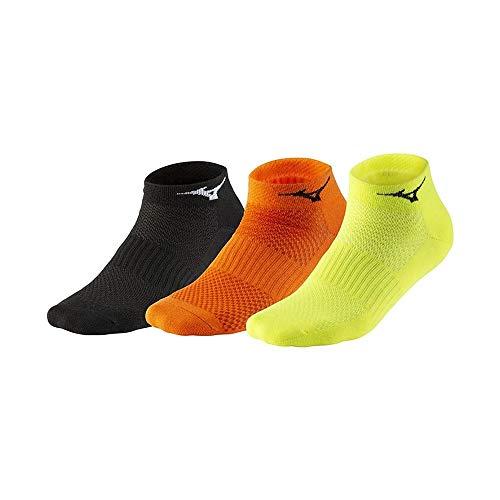 Mizuno Training Mid 3P Socken Unisex, Black/Orange/Yellow, S