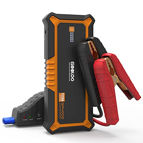 GOOLOO 4000A Peak SuperSafe Car Jump Starter (All Gas, up to 10.0L Diesel Engine) 12V Auto Battery Jumper Booster with USB Quick Charge and Type C Port, Portable Power Pack for Trucks, SUVs, Orange