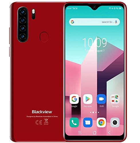 Blackview A80 Plus 【2021】 Smartphone Móvil Libres 4G, Pantalla HD + 6.49'', Helio P22 4GB + 64GB, Cuatro Cámaras Traseras, Batería 4680mAh, Grosor 8.8mm, Android 10 Teléfono Dual SIM, NFC GPS Rojo