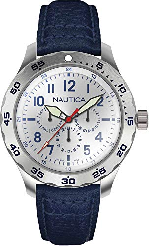 Nautica Men's Cruise Ncc01 Multi NAPNCI802 Silver Leather Quartz Fashion Watch