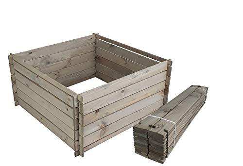 BLIZNIAKI Holzkomposter ECO Komposter 95 X 95 X 46cm Impragniert Kompostbehälter Gartenkomposter Einfach zusammenzubauen Kompostsilo bausatz KOM1 SN
