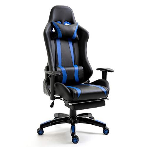 SVITA Gaming Stuhl Bürostuhl Schreibtischstuhl Drehstuhl Fußablage Farbwahl (blau)