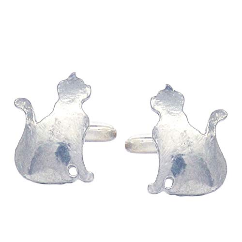 Luxury Fine Pewter Sitting Cat Cufflinks, Handcast by William Sturt
