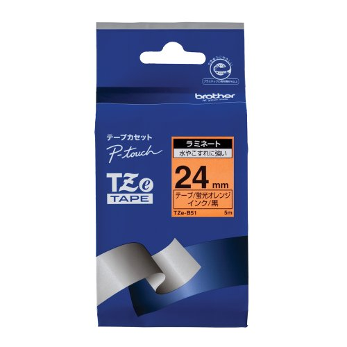 "Brother Mobile TZEB51 P-Touch Tape, 0.94"" W x 16.4' L, Black on Fluorescent Orange"
