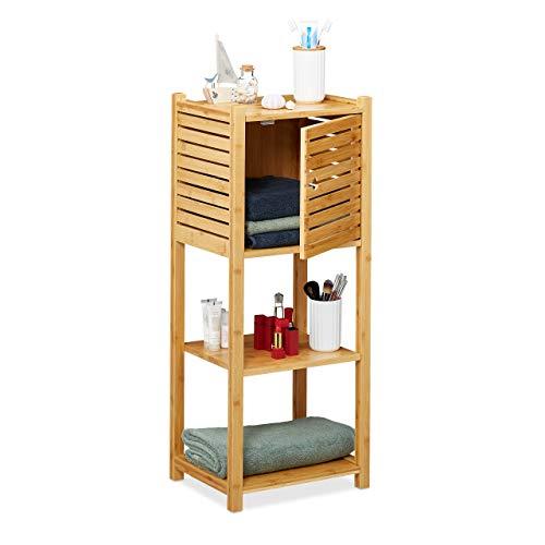Relaxdays Badregal aus Bambus, 3 Ablagen & 1 Fach mit Tür, Bad & Küche, schmales Badmöbel, HBT: 87,5 x 35 x 29 cm, Natur, 1 Stück