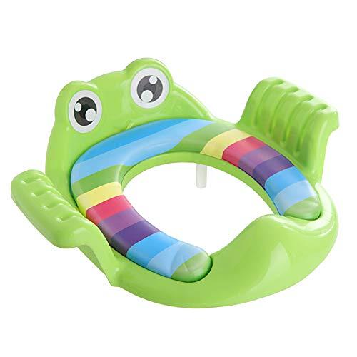 Kinder Frosch gepolsterte Toilettensitzring greenToddler Potty Sitz Cartoon-Frosch-Soft-WC-Sitz für Kinder Antirutsch Potty Training Ring