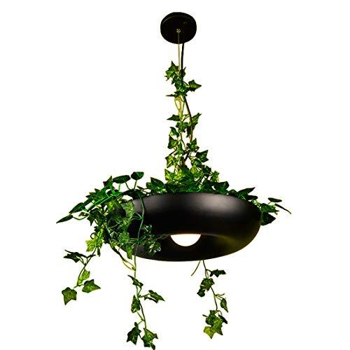 Warm Home materiaal van aluminium, Scandinavische stijl, bloemenspin, tuin, hemel, planten, in bloempotten, LED, koffie, rond, zwart, draad, verstelbaar, 40 x 21 cm (kroonluchter, lichtketting)