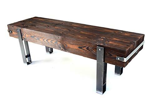 CHYRKA® Bank Sitzbank Massiv-Holz Brody Loft Vintage Bar Industrie Design Handmade Holz Metall (42 cm x 100 cm h=45 cm)