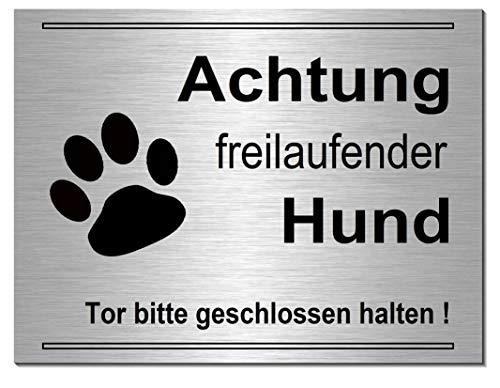 Achtung freilaufender Hund-Schild 200 x 150 x 3 mm-Aluminium-Edelstahloptik silber mattgebürstet-Hundeschild-Hinweisschild-Warnschild (249-8 -20 x 15 cm mit Löcher)