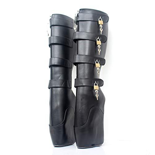 COSY-L Extreme Fetisch Ballet Stiefel Damen High Heels mit Schloss 36-46,Black,41EU/10US
