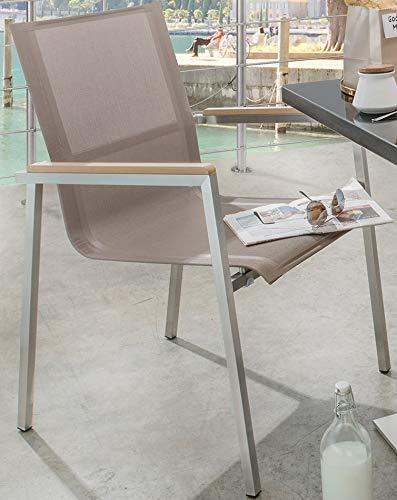 Destiny Sessel Altos Stapelsessel Edelstahl Textilene Taupe Gartensessel - Ohne Tisch -