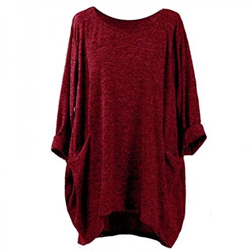 Camiseta de Color Liso con Bolsillo de Cuello Redondo Camiseta Holgada de Manga Larga Mujer