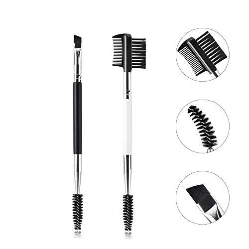 Eyebrow Brush and Comb Set, Ubonjoy 2Pcs Eye Brow Brush, Professional Spoolie brushes, Firm Thin Angled Eyebrow Brush, Eyeliner Brush Kit, Precision Application & Blending