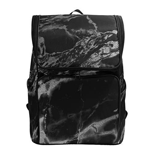 Emoya Canvas Studenten-Rucksack schwarz Marmor Büchertasche für Mädchen Jungen Schultasche