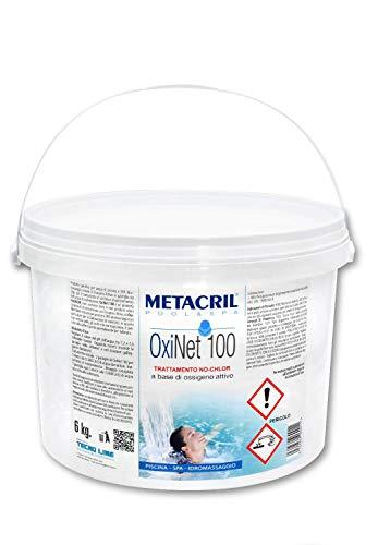 Metacril OxiNet 100 6 kg- Ossigeno Attivo in pastiglie da 100gr - Ideale per Piscina o Idromassaggio (Teuco,Jacuzzi,Dimhora,Intex,Bestway,ECC.) Spedizione IMMEDIATA