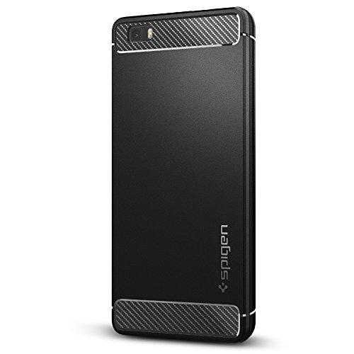Cover Huawei P8 Lite, Spigen® [Rugged Armor] Impressionante Black [Design Meccanica Durevole] TPU Silicone flessibile / Massima Protezione Da Cadute e Urti - Custodia silicone Huawei P8 Lite, Custodia P8 Lite, Cover P8 Lite (L04CS20300)