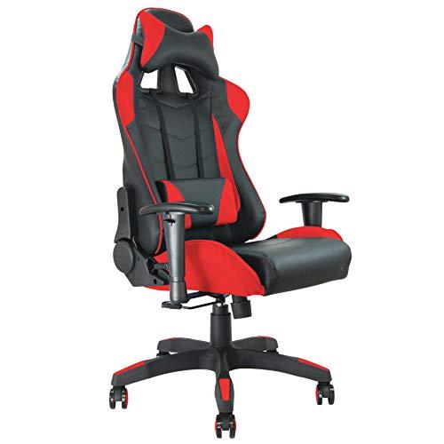 Silla de Oficina con Asiento Baquet Racing (Negro y Rojo)