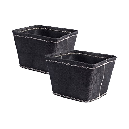 DII Collapsible Polyester Storage Basket or Bins, Home Organizer Solution for Home, Office Desk, Shelf, Bedroom & Closet (Set of 2 Small Baskets - 12x10x8') - Black