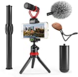 Movo VXR10+ Smartphone Video Rig with Mini Tripod, Phone Grip, and Video Microphone Compatible with iPhone 11,...