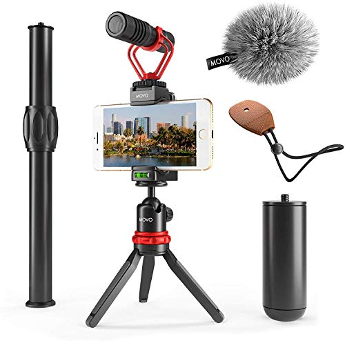 Movo VXR10+ Smartphone Video Rig with Mini Tripod, Phone Grip, and Video Microphone Compatible with iPhone 11, 11 Pro, XS, XR, X, 8, 7, 6S, 6, 5S and Android - for YouTube, TIK Tok, Filming, Vlogging