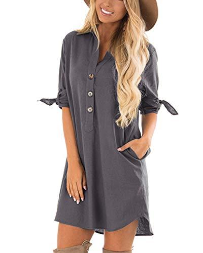 CNFIO Sommerkleid Damen Elegant Kleider V-Ausschnitt 1/2 Ärmel Einfarbig Shirt Design Kurz Blusenkleid Minikleid Strand Kleider Grau EU40