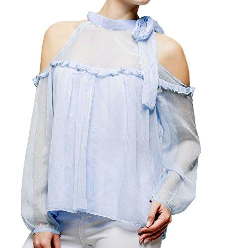Dames blouse met lange mouwen schouder Uni semi-transparant in zwart roze lichtblauw of wit