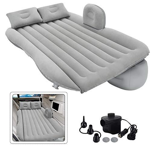 Grassman Aufblasbare Auto-Luftmatratze, abnehmbares graues Rücksitz-Luftbett mit Luftpumpe, tragbares Auto-Reisebett mit Zwei Kissen Für die meisten Automodelle für Campingreisen