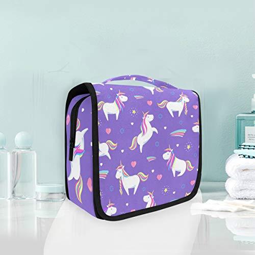 Arco Iris Púrpura Unicornio Mágico Trousse De Toilette Sac Pliable Suspendu Cosmétique Sac Rangement Maquillage sacs pour Voyage Femmes Filles