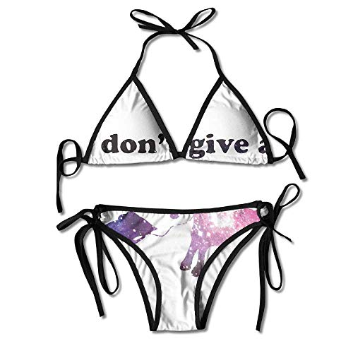 Galaxy I Don't Give A Rats Ass Bikini Traje de baño de Verano para Mujer Top Triangular Bikinis Traje de baño Conjunto de 2 Piezas