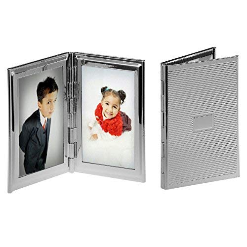 silberkanne Reise Bilderrahmen 2X 3,5x5,5 cm Foto Silber Plated versilbert in Premium Verarbeitung
