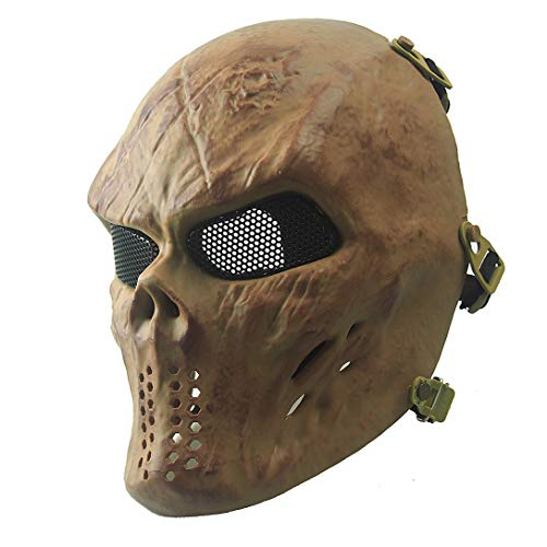 Anyoupin Paintball Mask,Skull Full Face Airsoft Mask with Mesh Army Fans Supplies M06 Tactical Mask for Halloween Paintball Airsoft CS Game Cosplay and Party BO