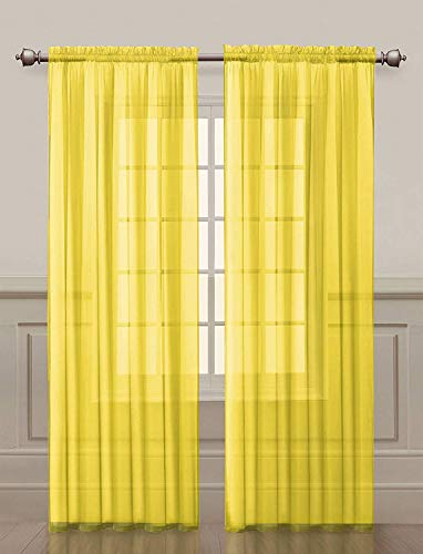Imperium Comfort 2 Piece Rod Pocket Curtain Panels 54' W x 72' L Inch Sheer Voile Window Treatment for Bedroom, Living Room and Kitchen(2 Panels 54' W x 72' L, Yellow)