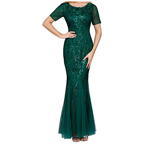 FORUU 2020 New Party Dress for Women,Plus Size Elegant Mesh Gauze Fishtail Evening Dress Sexy V-Neck Embroidered Beaded Short Sleeve Dress Slim Fit Wedding Outfits Women Formal Dress Gift