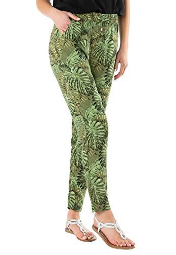 Sublevel Damen Stoff-Hose mit Gummibund & Muster Print Dark-Green L