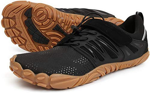 WHITIN Zapatilla Minimalista de Barefoot Trail Running para Hombre Five Fingers Fivefingers Zapato Descalzo Correr Deportivas Fitness Gimnasio Calzado Asfalto Negro 42 EU