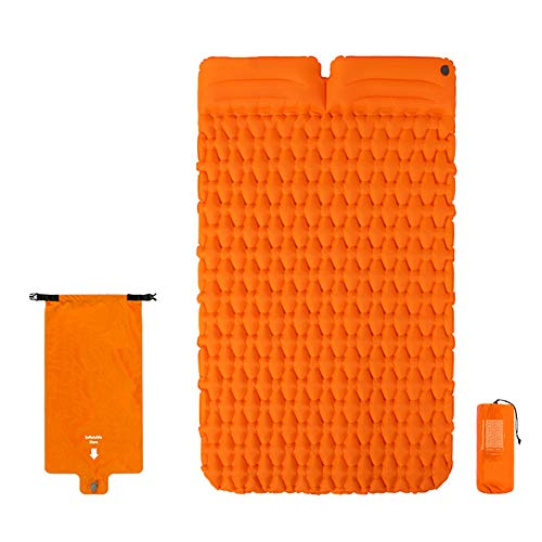Nuomeisi Ultralight Camping Mat, Portable Inflatable Sleeping Mat with Pillow, Waterproof and Moisture-Proof Double Mattress, Suitable for Backpacking Trekking Camping and Hiking,Orange