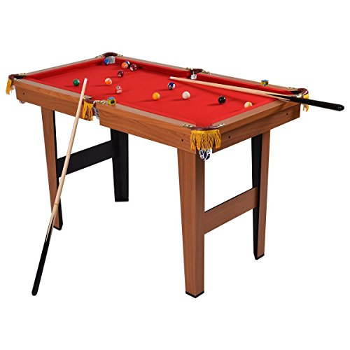 Goplus Mini Pool Table Tabletop Billiard Game Set w/Cues Balls 48' and 36' (Red 48')