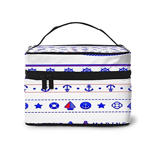 DJNGN Art Nautical Banner Bunting Segelboot Make-up-Tasche Travel Große Kosmetiktasche Case Organizer-Tasche mit Netztasche Tragbare Make-up-Kulturbeutel