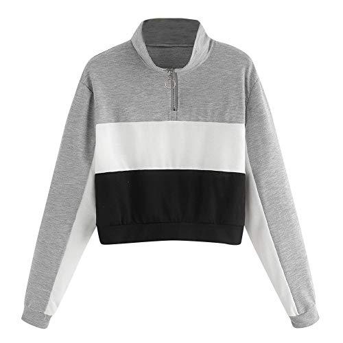 Frauen Patchwork Sweatshirt MYMYG Langarm Bluse mit Kapuze Pullover Tops Shirt Kapuzenpullover Tunnelzug Hoodie Mädchen Bluse(Grau,EU:40/CN-XL)
