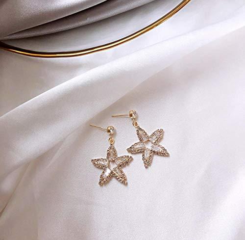 Pendiente Pendientes Joyas de moda Pendientes de cristal completos de lujo Elegantes pendientes de estrella de cinco puntas para mujeres